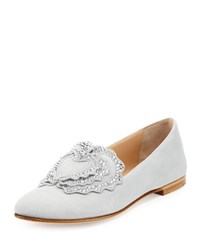 Giuseppe Zanotti Crystal Embellished Suede Loafer Light Gray