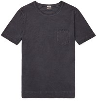 Massimo Alba Panarea Watercolour Dyed Cotton Jersey T Shirt Blue