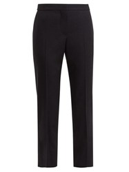 Alexander Mcqueen Cropped Grain De Poudre Wool Trousers Navy