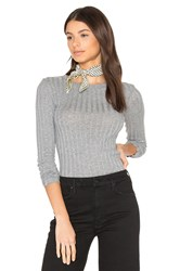 Enza Costa Cashmere Rib Long Sleeve Tee Grey