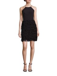 Aidan Mattox Halter Fringed Crepe Cocktail Dress Black
