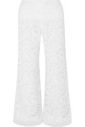 Adam By Adam Lippes Cropped Corded Lace Wide Leg Pants White