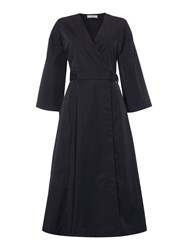 Ivy And Oak Pleat Skirt Dress With 3 4 Sleeve Wrap Top Midnight Blue