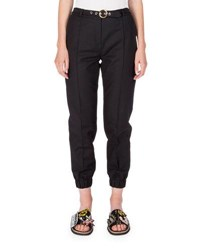 Kenzo Belted Cropped Cotton Blend Track Pants Black