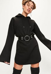 Missguided Black Flared Sleeve Hooded Jumper Dress