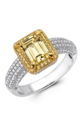Two Tone Micro Pave Canary And White Simulated Diamond Center Emerald Cut Ring Yellow