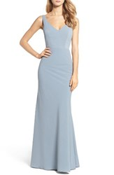 Jenny Yoo Women's Delaney Tie Back V Neck Gown