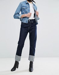 Weekday High Waist Worker Jean With Turn Up Contrast Blue
