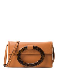 Michael Kors Baxter Ring Leather Clutch Brown