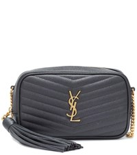 Saint Laurent Lou Mini Leather Crossbody Bag Grey