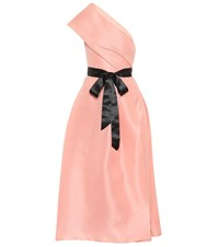 Monique Lhuillier One Shoulder Silk Satin Gown Pink