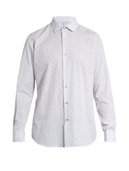Paul Smith Double Cuff Dot Print Cotton Poplin Shirt Blue