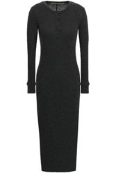 Enza Costa Woman Ribbed Cotton And Cashmere Blend Midi Dress Charcoal