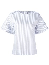 Victoria Beckham Ruffle Trim Striped Top Women Cotton 6 White