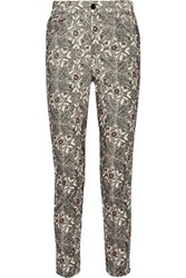 Isabel Marant Marak Printed Cotton Blend Corduroy Skinny Pants Black