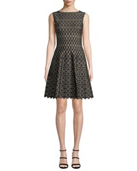Alaia Sleeveless Medallion Jacquard Knee Length Dress Black Gold