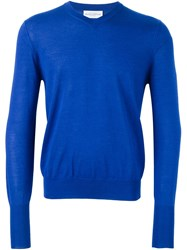 Ballantyne V Neck Pullover Blue