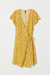 Handm H M Patterned Wrap Front Dress Yellow