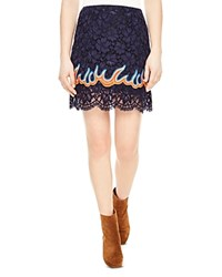 Sandro Flamy Lace Mini Skirt Navy Blue