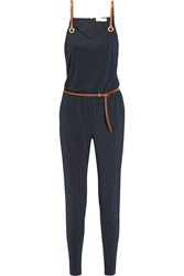 Michael Michael Kors Faux Leather Trimmed Satin Jersey Jumpsuit Navy