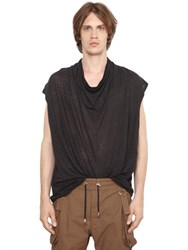Balmain Draped Linen Sleeveless T Shirt