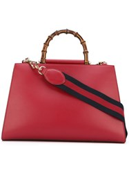 Gucci Nymphaea Top Handle Tote Women Bamboo Calf Leather Suede One Size Red