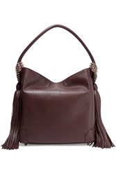 Christian Louboutin Eloise Tasseled Textured Leather Shoulder Bag Merlot