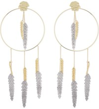 Maje Palm Leaf Loop Earrings Gold