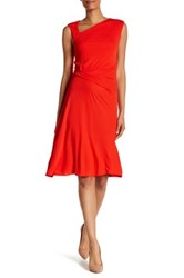 St. John Matte Jersey Midi Dress Orange