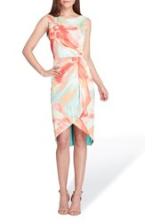 Tahari Print Charmeuse Sheath Dress Coral Lemon Seafoam