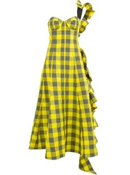 Natasha Zinko One Shoulder Bustier Check Dress Yellow