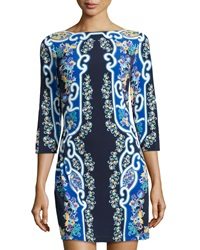 Ali Ro Floral Mirror Print Jersey Dress Midnight