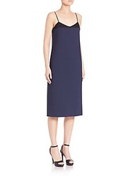 Nina Ricci Stretch Wool Slip Dress Midnight Blue