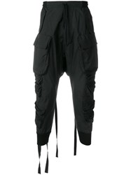 Unravel Project Tapered Drop Crotch Cargo Trousers Black