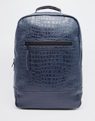 Asos Backpack In Navy With Crocodile Effect