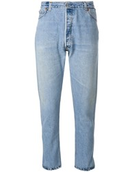 Re Done High Rise Cropped Jeans Cotton Blue