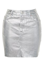 Topshop Tall High Waisted Denim Skirt Silver