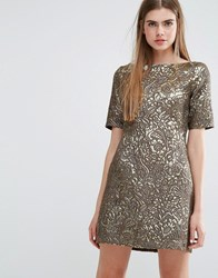 Baum Und Pferdgarten Alexandra Dress In Metallic Jacquard Gold