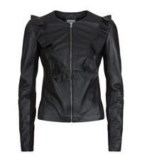 Pinko Ruffle Leather Jacket Female Black