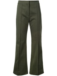 Derek Lam Cropped Flare Cotton Twill Jean Trouser With Pintuck Details Green