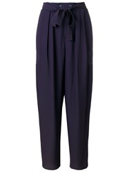 Yves Saint Laurent Vintage Tie Waist Trousers Pink And Purple