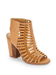 Dolce Vita Strappy Open Back Leather Ankle Boots Honey