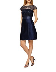 Kay Unger Sequined Lace Empire Waist Dress Navy