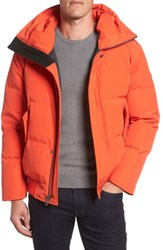 Cole Haan Men's Hooded Down And Feather Fill Bomber Jacket Orange