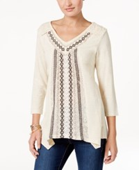 Style And Co Embroidered Handkerchief Hem Top Only At Macy's Aerial Oatmeal