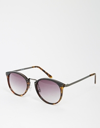 Asos Round Sunglasses In Tort With Metal Nose Bridge Brown