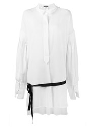 Ann Demeulemeester Pleated Long Sleeve Shirt White