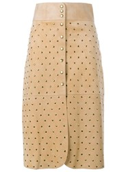 Lanvin Studded Suede Skirt Yellow And Orange
