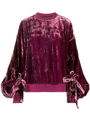 Y Project Crushed Velvet Sweatshirt Women Silk Viscose Xs Pink Purple