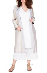 Elvi Plus Size Women's Metallic Jersey Trench Coat Gold